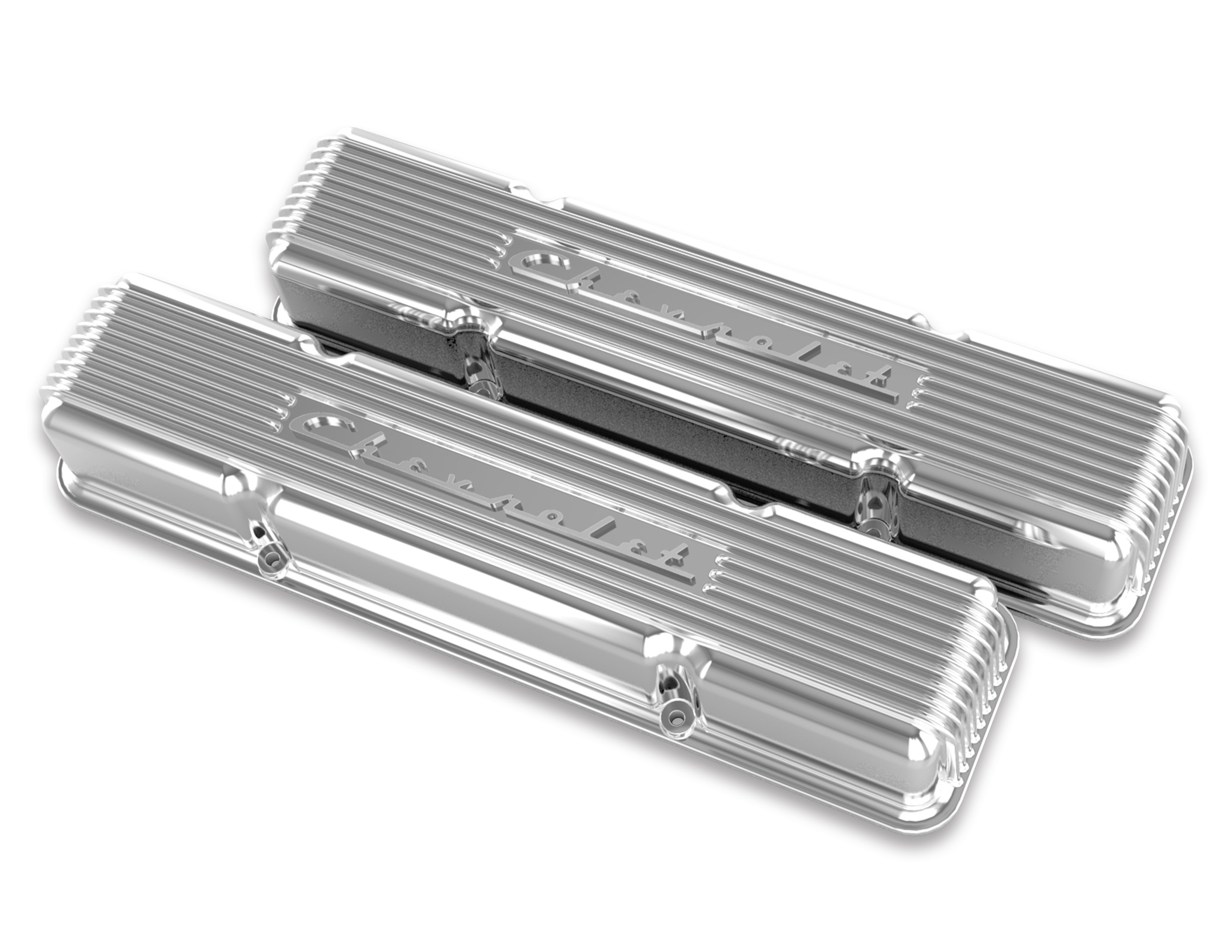 (1947-85) Holley Vintage Series Chevrolet Script Valve Cover- Polished